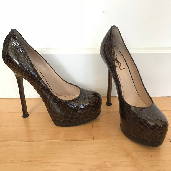 3515f1076c64 YSL YVES SAINT LAURENT Tribute Platform CROC Pumps